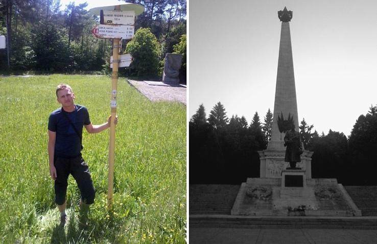 Úvodná fotografia v Duklianskom priesmyku a monument vo Svidníku
