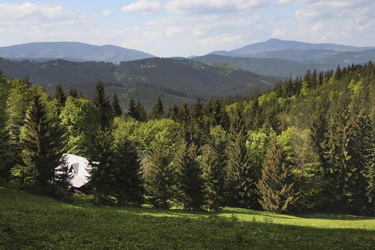 Pohľad na dominatné vrchy Smrk a Lysú horu z hrebeňa pohoria