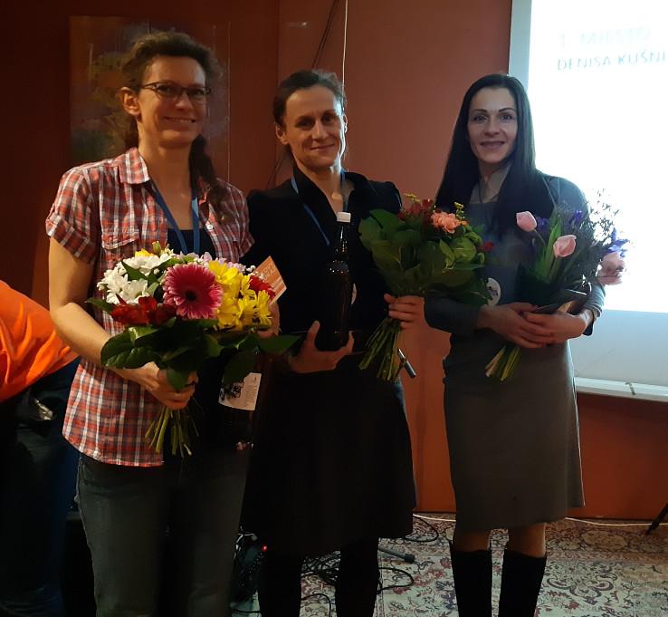 Vyhodnotenie Slovenskej Ultratrailovej Ligy 2019, zľava Martina Hancková, Denisa Kušnierová, Soňa Kopčoková, foto Soňa Mäkká
