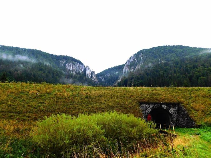 Pohľad smerom k rokline Sokolica a Sokolie skaly pod Marčekovou na zelenej