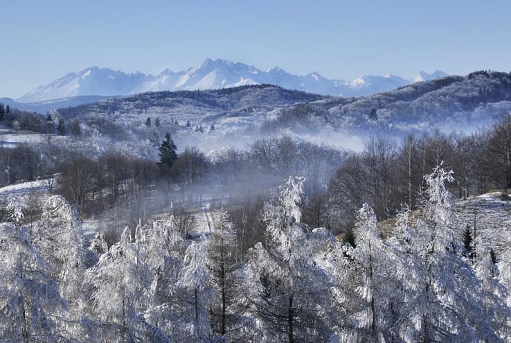 Čergovské vrcholky v pozadí s Tatrami