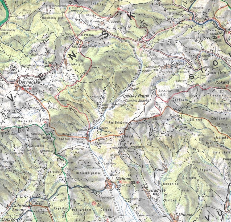 Slovenské rudohorie-Veporské vrchy, mapa z roku 1985 (Slovenská kartografia, n. p., Bratislava)