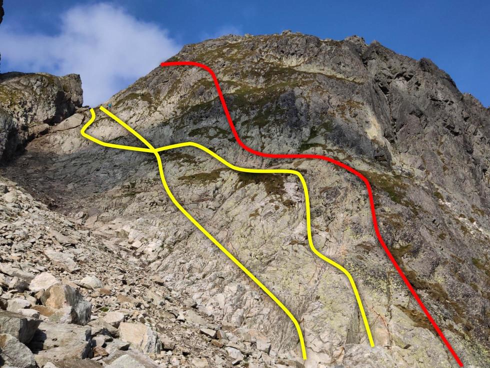 Tri línie z Malej Studenej doliny – žltou reťaze, červenou ferrata