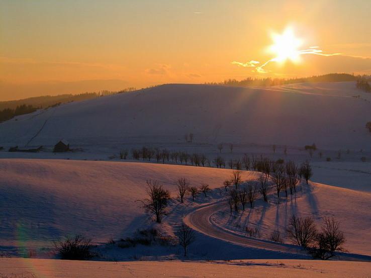 Zimný podvečer nad Oľšavicou