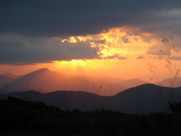 Západ slnka nad Ďumbierom