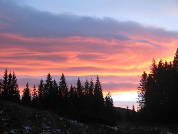 Západ slnka pod Borovniakom