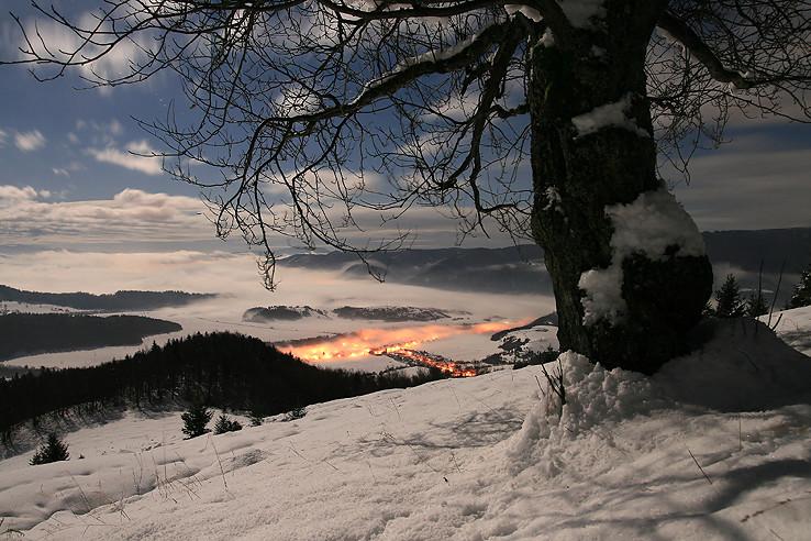 Zimný večer pod Mukyňou