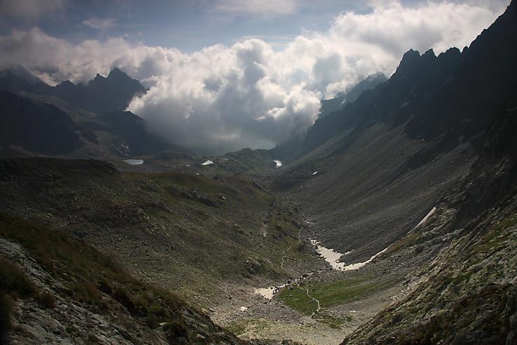 Veľká Studená dolina zo sedla Prielom