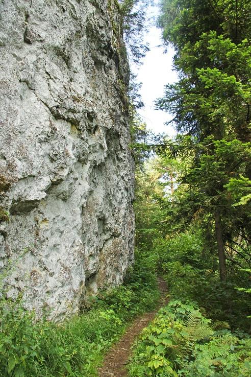 chodníček pod skalnou stenou
