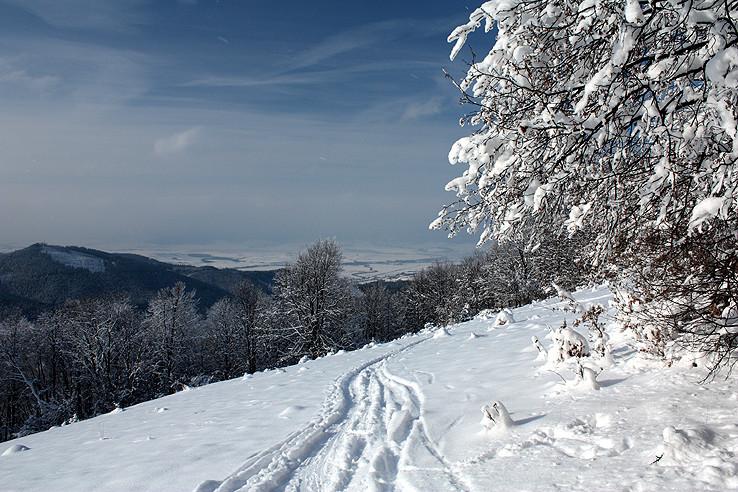 skitouringová stopa nad Turcom
